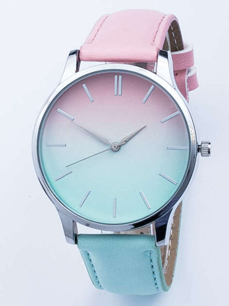 Zegarek damski ombre różowo- błękitny