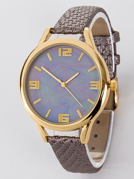 Zegarek damski szaro-złoty z perłową tarczą                              zdj.                              1
