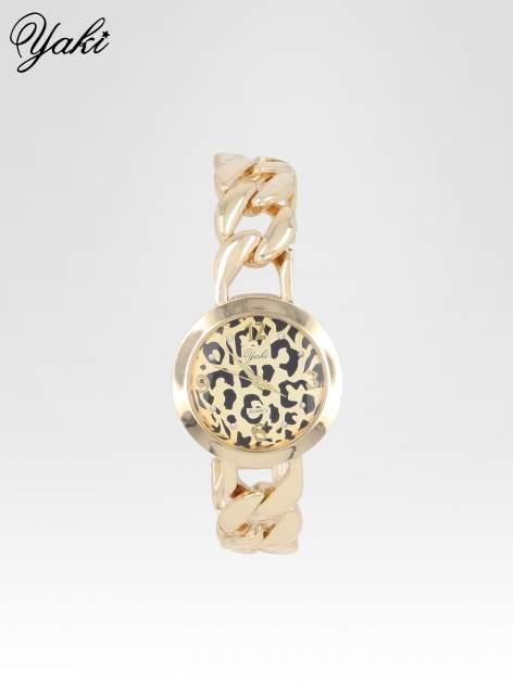 Zegarek damski z motywem leopard print na bransolecie ze złota