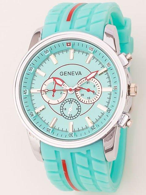 Zegarek męski miętowy z ozdobnym chronografem na tarczy i bieżnikowanym paskiem                               zdj.                              1
