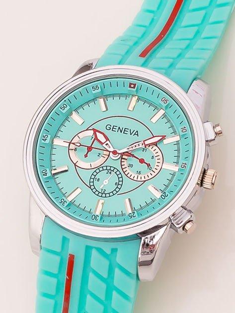 Zegarek męski miętowy z ozdobnym chronografem na tarczy i bieżnikowanym paskiem                               zdj.                              3