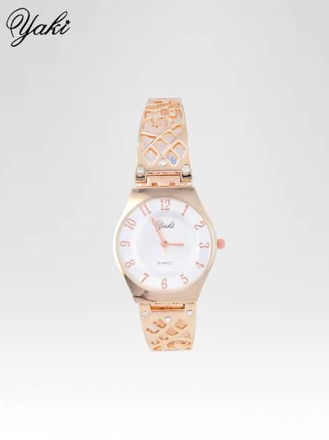 Zegarek na bansolecie z cyrkoniami z różowego złota