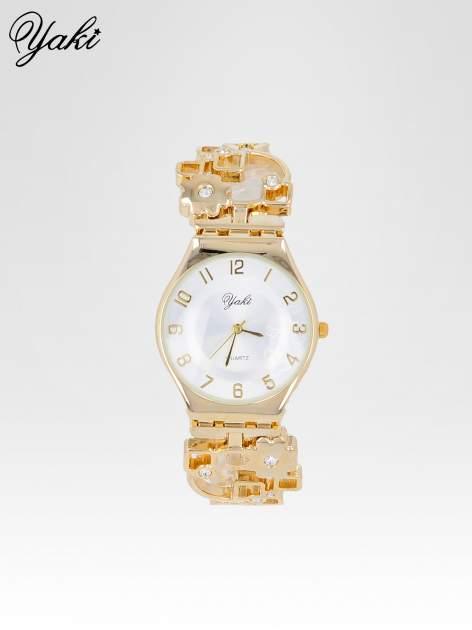 Zegarek na kwiatowej bansolecie z cyrkoniami ze złota                                  zdj.                                  2