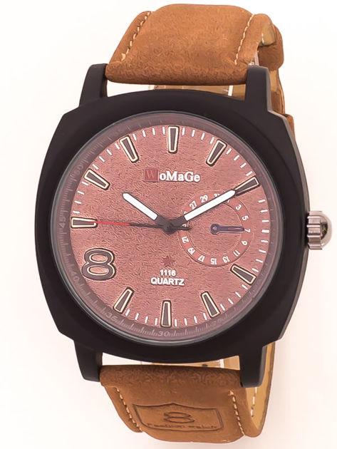 Zegarek unisex czarno-brązowy z ozdobnym kalendarzem na tarczy na skórzanym zamszowym pasku