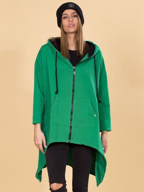 Zielona asymetryczna bluza dresowa z kapturem                              zdj.                              1