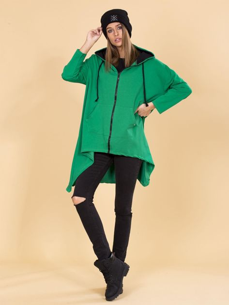 Zielona asymetryczna bluza dresowa z kapturem                              zdj.                              4