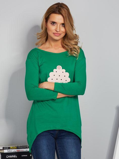 Zielona asymetryczna bluzka z babeczką                              zdj.                              1
