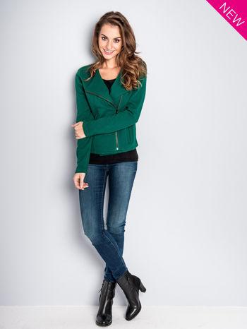 Zielona bluza o kroju ramoneski z asymetrycznym suwakiem                                  zdj.                                  7