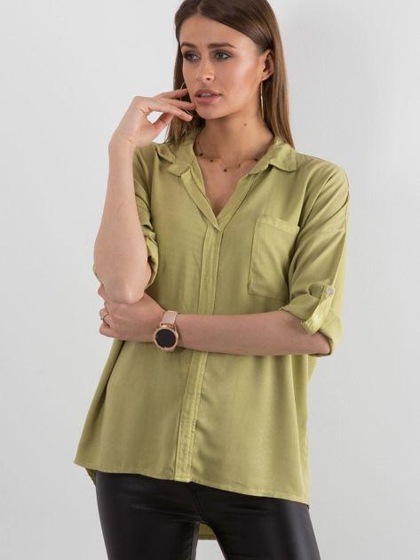 Zielona bluzka oversize z kieszenią                              zdj.                              1