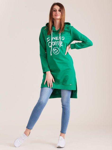 Zielona długa bluza z kapturem I NEED COFFEE                              zdj.                              4