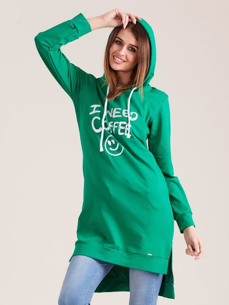 Zielona długa bluza z kapturem I NEED COFFEE                              zdj.                              5