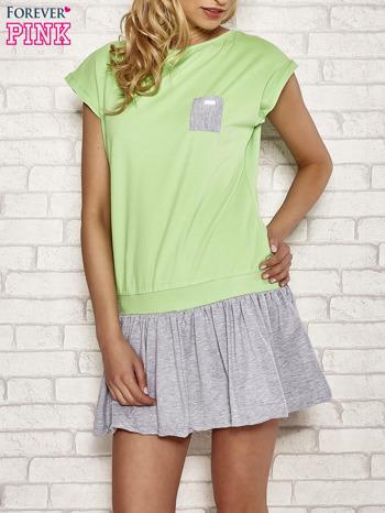 Zielona dresowa sukienka tenisowa z kieszonką                                  zdj.                                  1