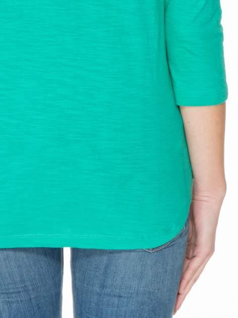 Zielona gładka bluzka z łezką z tyłu                                  zdj.                                  6