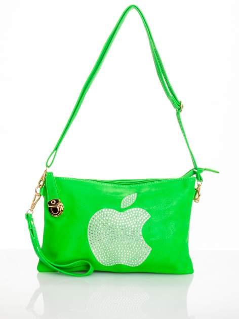 Zielona kopertówka z dżetami motyw apple                                  zdj.                                  3