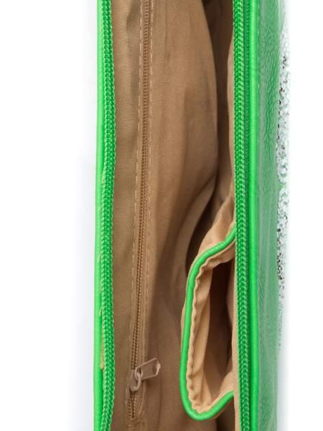 Zielona kopertówka z dżetami motyw wąsów                                  zdj.                                  4