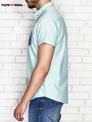 Zielona koszula męska z kontrastową kieszonką FUNK N SOUL                              zdj.                              3