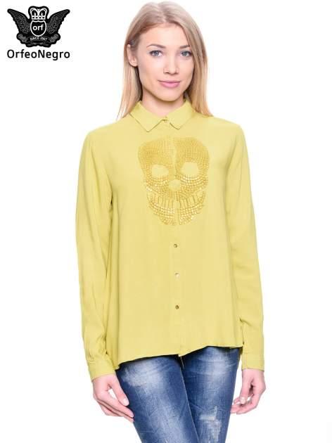 Zielona koszula z aplikacją czaszki z cekinów                                  zdj.                                  1
