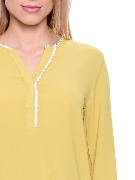 Zielona koszula z ażurową lamówką                                  zdj.                                  6