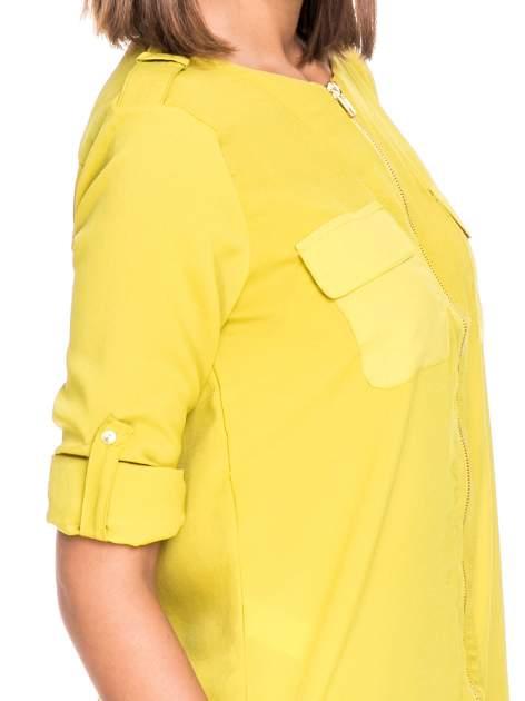 Zielona koszula ze złotym suwakiem i kieszonkami                                  zdj.                                  6