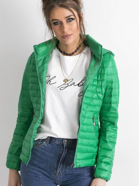 Zielona kurtka przejściowa z kapturem                              zdj.                              1