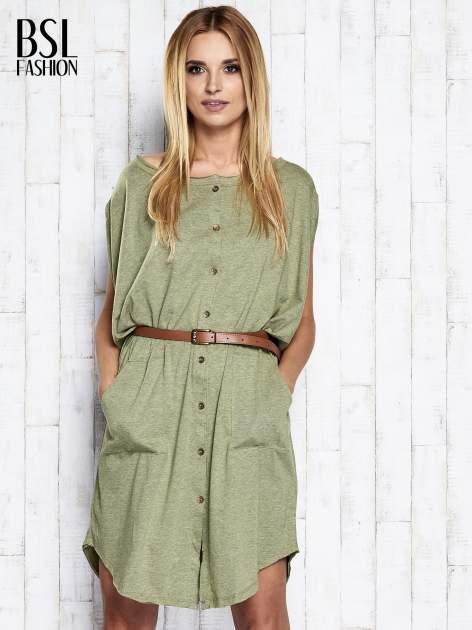 Zielona melanżowa sukienka oversize z guzikami                                  zdj.                                  3