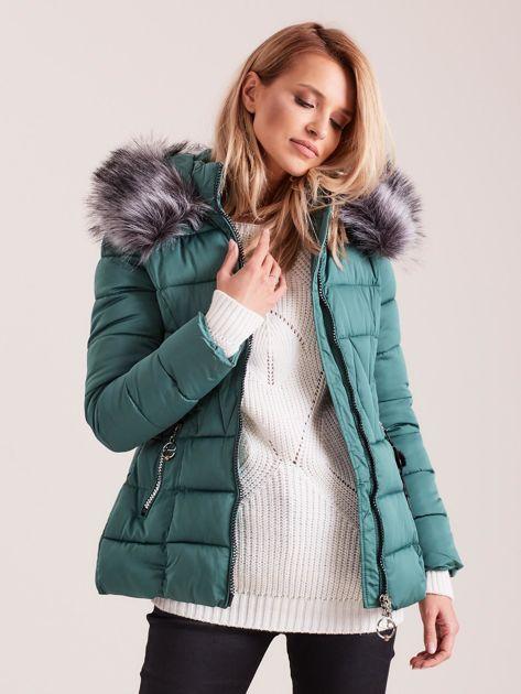 Zielona pikowana kurtka damska                              zdj.                              6