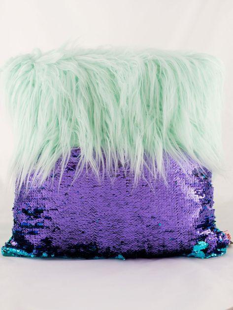 Zielona poduszka z długim włosem i cekinami                              zdj.                              4
