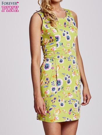 Zielona rozkloszowana sukienka w białe kwiaty                                  zdj.                                  3