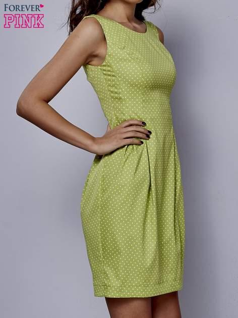 Zielona rozkloszowana sukienka w groszki                                  zdj.                                  3