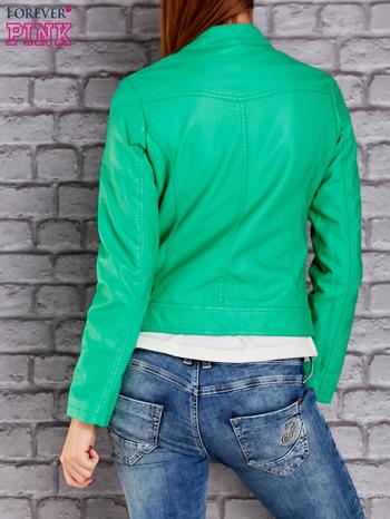 Zielona skórzana kurtka o klasycznym kroju                                  zdj.                                  2