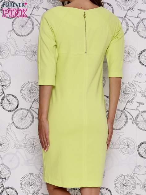 Zielona sukienka dresowa z suwakiem z tyłu                                  zdj.                                  4