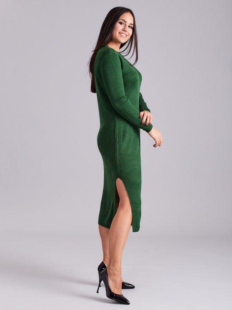 Zielona sukienka dzianinowa z bocznym sznurowaniem                              zdj.                              3
