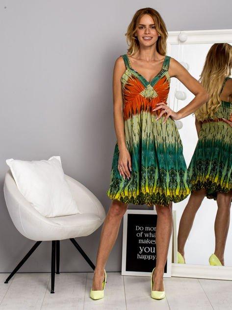 Zielona sukienka dzienna na ramiączka w stylu etno                                  zdj.                                  4