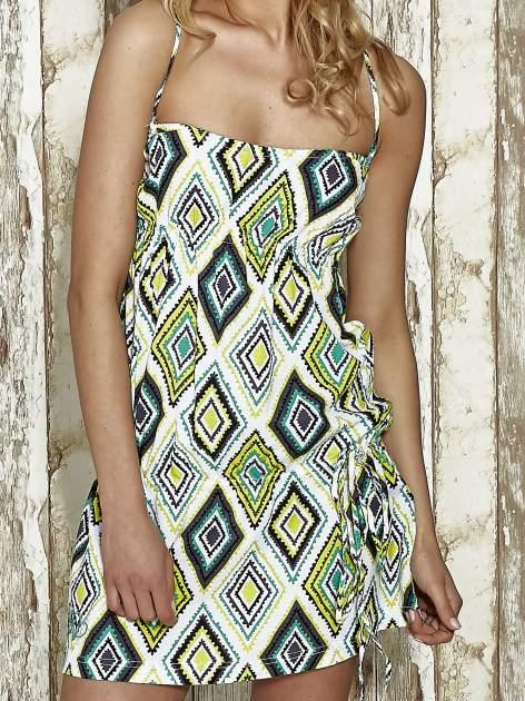 Zielona sukienka na gumkę w geometryczne wzory Funk n Soul                                  zdj.                                  4