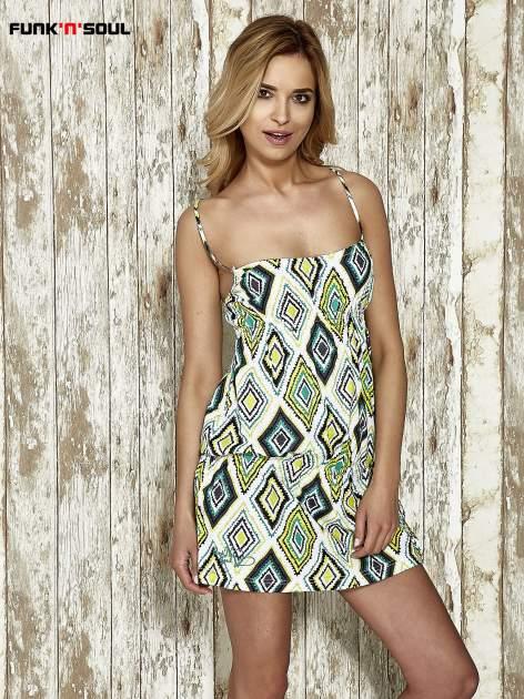 Zielona sukienka na gumkę w geometryczne wzory Funk n Soul                                  zdj.                                  1