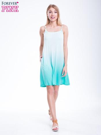 Zielona sukienka na ramiączka z efektem ombre                                  zdj.                                  4