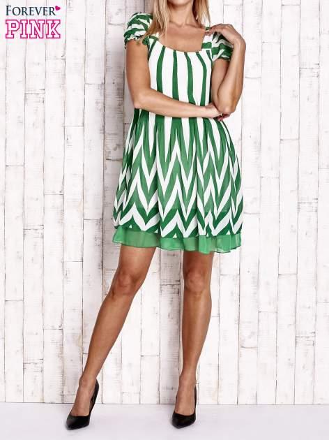 Zielona sukienka w paski z bufiastymi rękawkami                                  zdj.                                  4