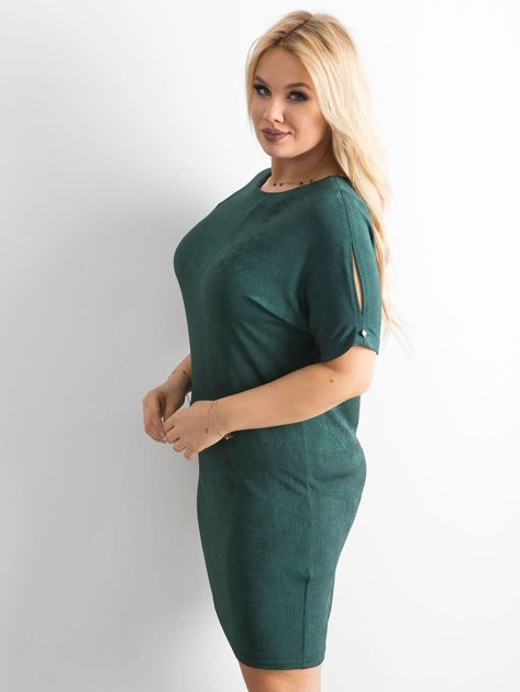 Zielona sukienka z delikatnym połyskiem PLUS SIZE                              zdj.                              3