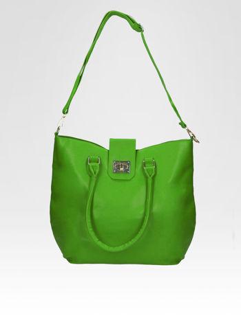 Zielona torebka city bag z zatrzaskiem                                  zdj.                                  4