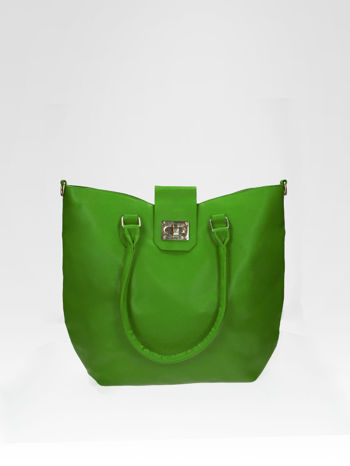Zielona torebka city bag z zatrzaskiem