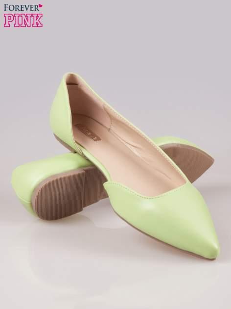Zielone baleriny faux leather Cookie w szpic z wycięciem z boku                                  zdj.                                  4