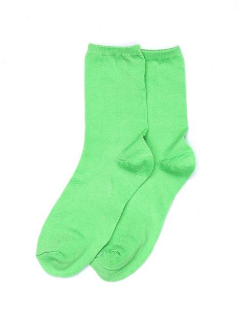 Zielone bawełniane skarpetki gładkie i w paski 2-pak                              zdj.                              2