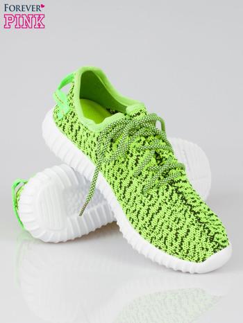Zielone buty sportowe textile Blossom z uchwytem z tyłu                                  zdj.                                  4