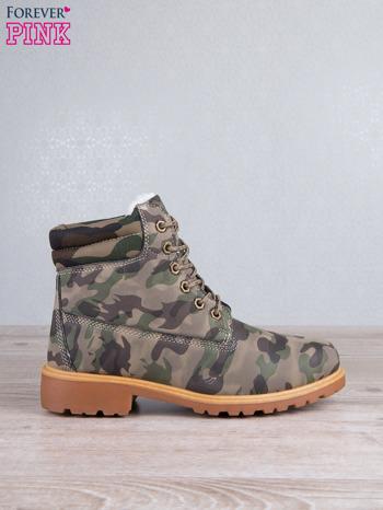 Zielone buty trekkingowe damskie traperki ocieplane