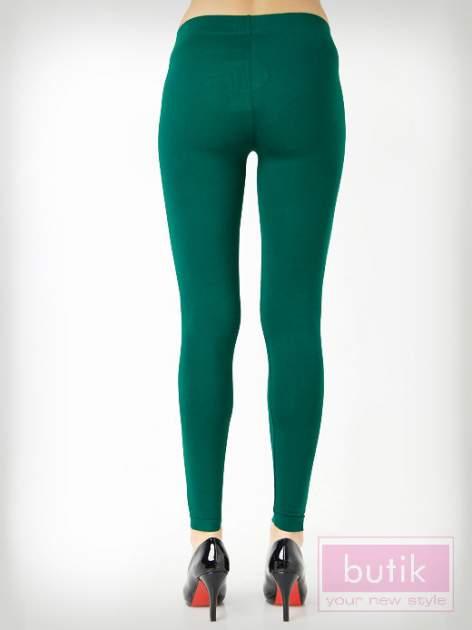Zielone gładkie legginsy bawełniane                                  zdj.                                  4