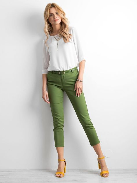 Zielone klasyczne spodnie 7/8                              zdj.                              4