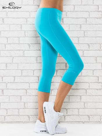 Zielone legginsy sportowe termalne z dżetami na nogawkach                                  zdj.                                  3