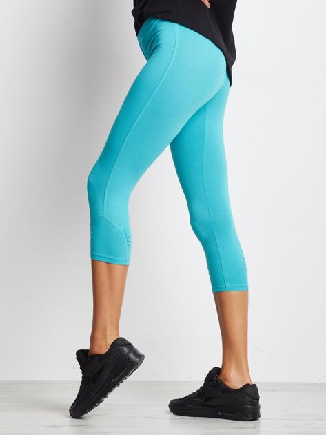 Zielone legginsy sportowe z dżetami i marszczoną nogawką za kolano                                  zdj.                                  1