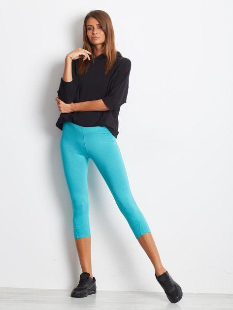 Zielone legginsy sportowe z dżetami i marszczoną nogawką za kolano                                  zdj.                                  5