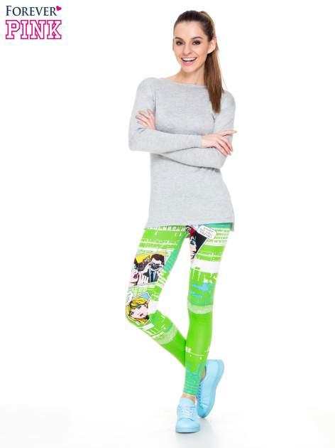 Zielone legginsy z nadrukiem komiksowym                                  zdj.                                  2